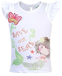 Babyhug Short Sleeves T-Shirt Save Our Seas Print - White
