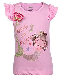 Babyhug Short Sleeves T-Shirt Save Our Seas Print - Pink