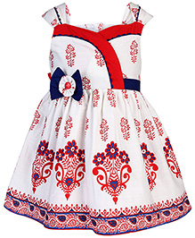 Babyhug Contrast Neckline Frock With Floral Applique - White And Red