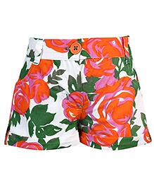 Babyhug Cotton Shorts Floral - White And Green