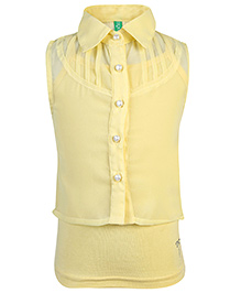 Palm Tree Sleeveless Party Top With Inner - Yellow