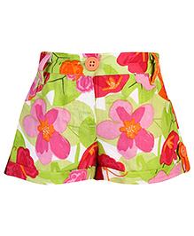 Babyhug Cotton Shorts Floral - Green And Pink