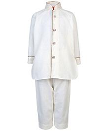 Ethniks Neu Ron Full Sleeves Pathani Suit - Off White