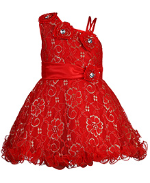Babyhug Ruffled Hem Party Wear Frock Floral Applique - Red