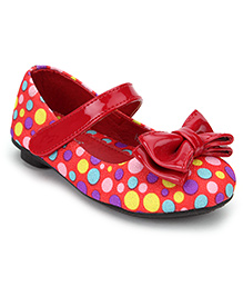Bash Belly Shoes Multi Colour Polka Dot With Bow - Red