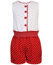 Nauti Nati Sleeveless Jumpsuit Heart Print - White And Red