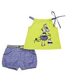 Nauti Nati Sleeveless Tie Up Top And Shorts With Belt - Light Green Blue