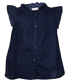 My Lil Berry Flutter Sleeves Shirt - Navy Blue