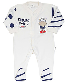 Child World Full Sleeves Romper Snow Party Print - Cream