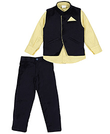 Babyhug Full Sleeves Shirt And Trouser With Waistcoat - Navy Yellow