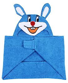 Little Bubbles Terry Hooded Bath Towel Rabbit Embroidered Patch - Blue