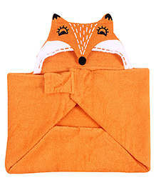 Little Bubbles Terry Hooded Bath Towel Fox Embroidered Patch - Orange