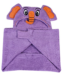 Little Bubbles Terry Hooded Bath Towel Elephant Embroidered Patch - Purple