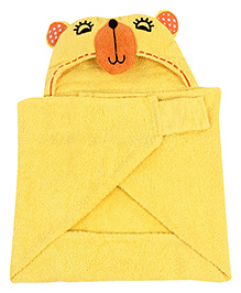 Little Bubbles Terry Hooded Bath Towel Bear Embroidered Patch - Yellow