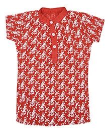 Earth Conscious Organic Cotton Short Kurti Top Floral Print - Red