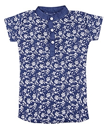 Earth Conscious Organic Cotton Short Kurti Top Floral Print - Blue