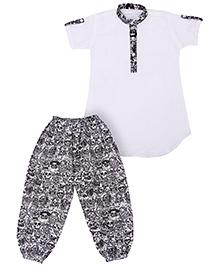 Earth Conscious Half Sleeves Organic Cotton Short Kurta And Pajama - White