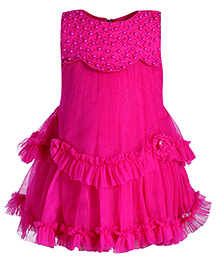 Babyhug Layered Frock With Pearl Detailing - Dark Pink