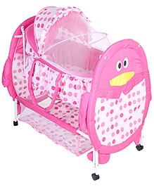 Baby Cradle With Mosquito Net Penguin Design And Polka Dots Pink - KDD-193