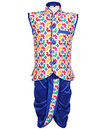 Babyhug Sleeveless Self Pattern Jacket And Dhoti Set - Blue