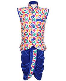 Babyhug Sleeveless Self Pattern Jacket And Dhoti Set - Blue