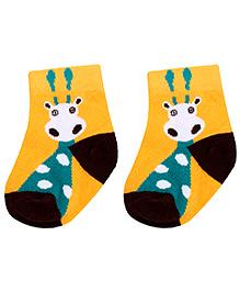 Cute Walk Socks Giraffe Design - Gold