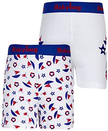 Babyhug Boxer Shorts Printed Set Of 2 - White And Royal Blue
