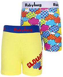 Babyhug Boxer Shorts Cloudy Print Set Of 2 - Yellow And Multicolor