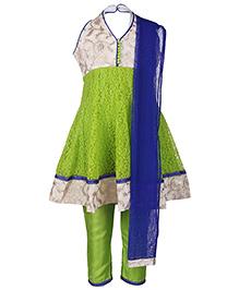 Babyhug Halter Neck Kurta And Churidaar With Dupatta - Green