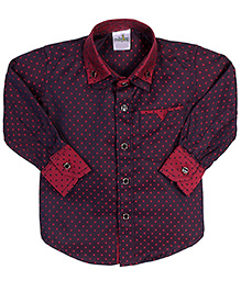 Babyhug Double Collar Shirt Square Print - Maroon