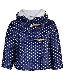 Babyhug Full Sleeves Hooded Jacket Polka Dot Pattern - Navy Blue