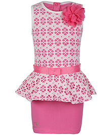 Little Kangaroos Sleeveless Party Dress Floral Applique - Pink