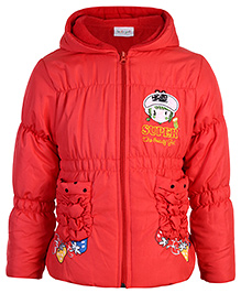 Peridot Full Sleeves Hooded Jacket Super Embroidery - Red