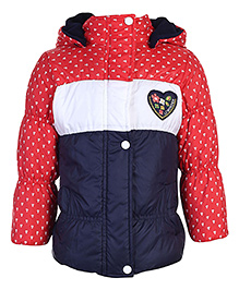Peridot Full Sleeves Hooded Jacket Heart Patch - Navy Red