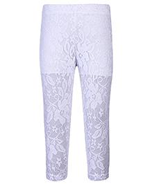 Babyhug Cropped Lace Leggings Floral Design - White