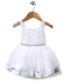 Babyhug Sleeveless Party Frock Studded Detailing - White