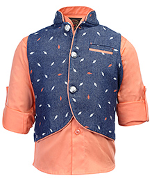 Little Bull Roll Up Sleeves Shirt With Waistcoat - Blue Orange