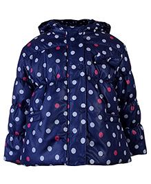 Babyhug Full Sleeves Hooded Jacket Polka Dot Pattern - Navy