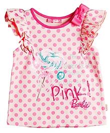 Barbie Flutter Sleeves Top Polka Dot Pattern - Pink