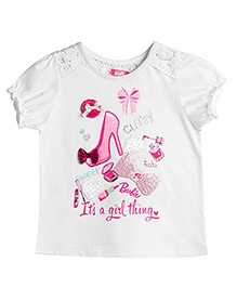 Barbie Puff Sleeves Top Bow Applique - White