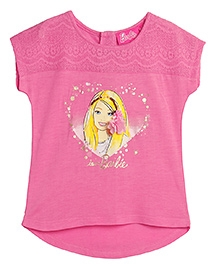 Barbie Short Sleeves Top Graphic Print - Pink