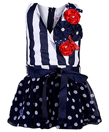 Little Kangaroos Sleeveless Frock With Floral Applique - Blue White