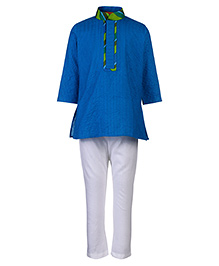 Exclusive from Jaipur Full Sleeves Short Kurta And Pajama Stripe Pattern - Dark Blue And Off White