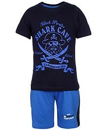 peaches & munchkins Half Sleeves T-Shirt And Shorts Shark Cave Print - Blue And Dark Blue