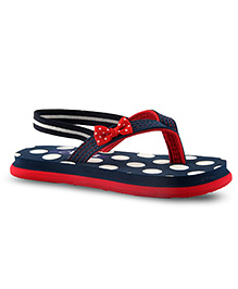Beanz Pearls Slippers With Back Strap Dot Print - Navy