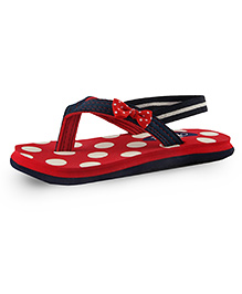 Beanz Pearls Slippers With Back Strap Dot Print - Red And Navy