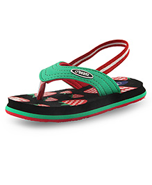 Beanz Slippers With Back Strap Strawberry Print - Green & Black
