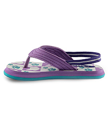 Beanz Flip Flops With Back Strap Cat Print -  Violet And Teal Blue