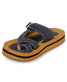 Beanz Cushy Toe Cross Sandals - Navy And Camel Color