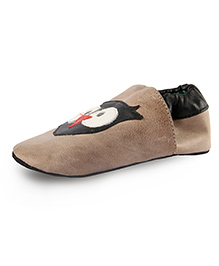 Beanz Slip-On Style Booties Owl Face Patch - Taupe Brown